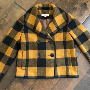 Ann Taylor LOFT Buffalo Plaid Pea Coat